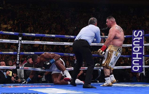 Anthony hits the canvas against Ruiz