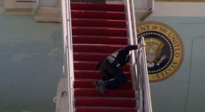 Joe Biden trips and falls