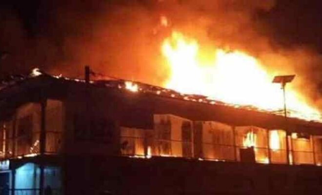 Prince Ebeano Supermarket on fire
